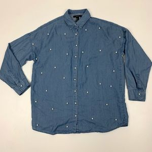 Forever 21 Chambray Pearl Button Up Shirt